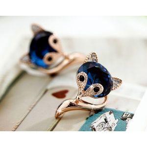 Jewelry - Blue Crystal Fox Stud Earrings - SALE 5 for $30!